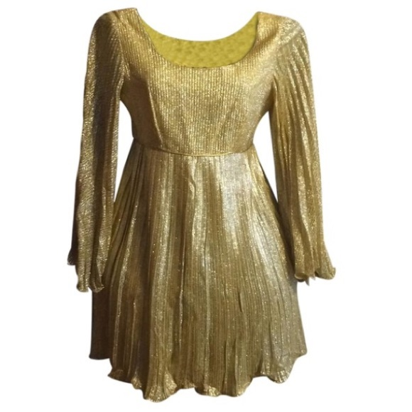 Vintage Dresses & Skirts - Vintage Gold Lame Dress
